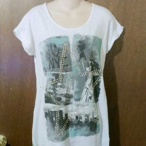 JUSTICE New York Theme Studed T-Shirt Cotton Blend